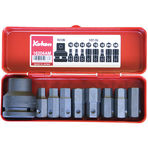 "16204AM Impact Hex Bit Socket Set 9pc 3/4""Dr (Contains Bit Holder 107-16 Hex Bits)"