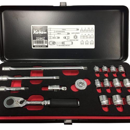 "Koken 1/4"" Dr 17pc Z Series Socket Set Metric 4 - 14mm (6 pt)"