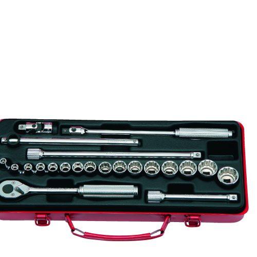 """3210M Socket Set 6 & 12pt 22pc 3/8""""Dr 6pt 6-12mm & 12pt 13-22mm"""