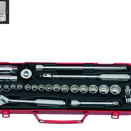 """3275 Socket Set 6 & 12pt 24pc 3/8""""Dr 6-22mm & 16-20.8mm Spark Plug Sockets"""