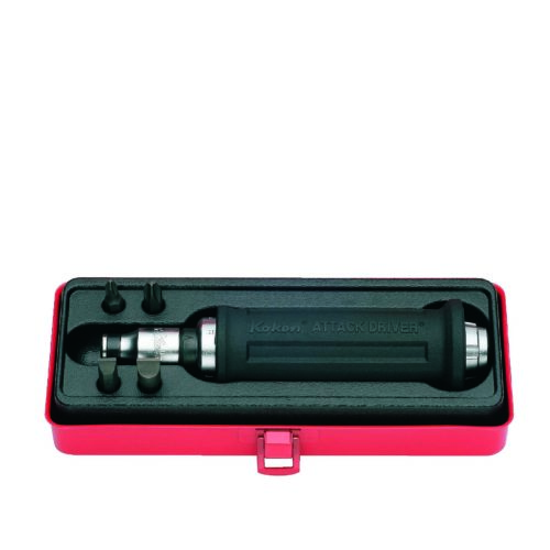 """AG112A Attack Driver Rubber Grip Handle 6pc 1/2""""Dr Includes #2-3 Ph 9-11mm Flat Bits & Holder"""