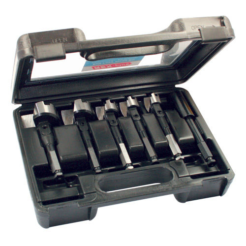 Electricians Self Feed Wood Bit Set in Blow Mould Case 6pc 25 29 32 44 51mm & 140mm Extension