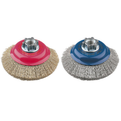 Bevelled Brush High Speed 100mm x 24mm x 0.3mm - M14 x 2 - Stainless Steel (BRUH-0100S)