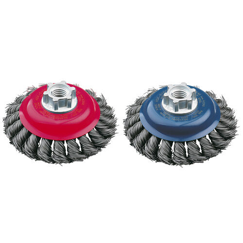 Bevelled Brush High Speed Twist Knot 100mm x 22mm x 0.5mm - M14 x 2 - Stainless Steel (BRUH-100S)