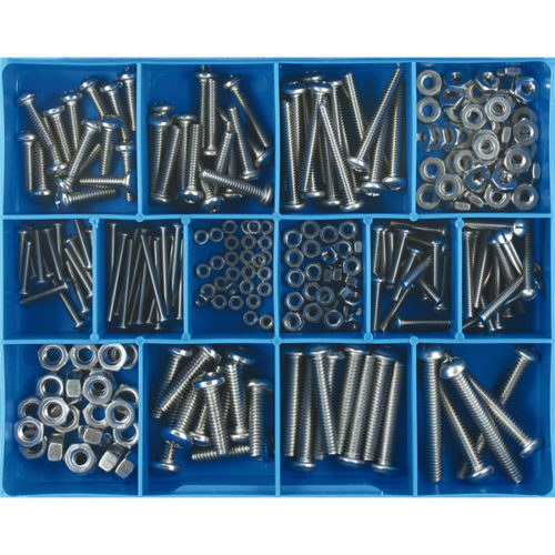 256PC STAINLESS MACHINE SCREWS & NUTS ASSORTMENT
