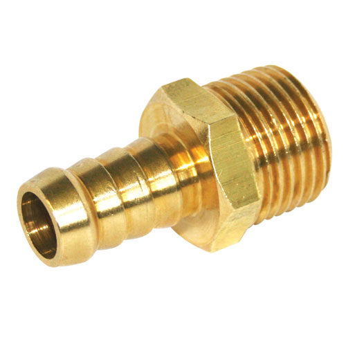 "A2529 Hose Connector Brass 1/4"" BSP Male Fitting To 3/8"" Hose Tail"