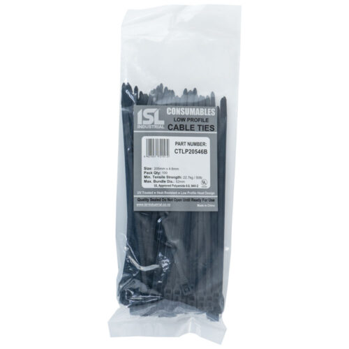 ISL 205x4.6mm Low Profile Cable Tie - UV Blk - 100pk
