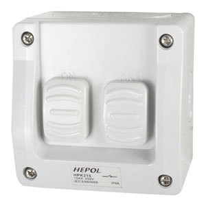 15A Weatherproof 2 Gang Surface Switch IP66**