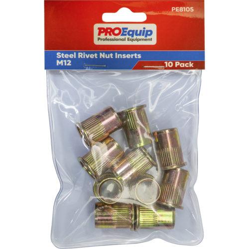 ProEquip M12 Steel Rivet Nut Inserts - 10pk