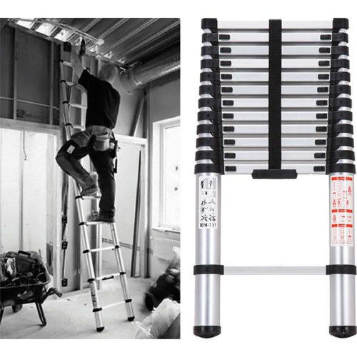 ProEquip 3.8M Telescopic Aluminium Ladder 150kg Cap.