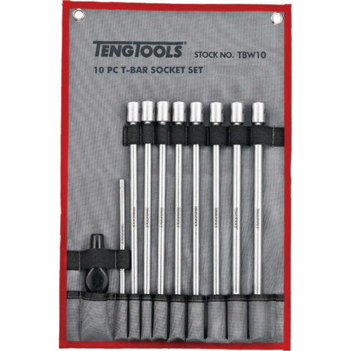 10PC T-BAR UNIVERSAL JOINT LONG SOCKET SET- 7-19MM