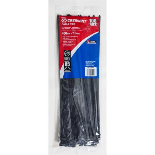 Crescent Cable Tie Heavy Duty Black 450mm x 7.6mm 100Pk